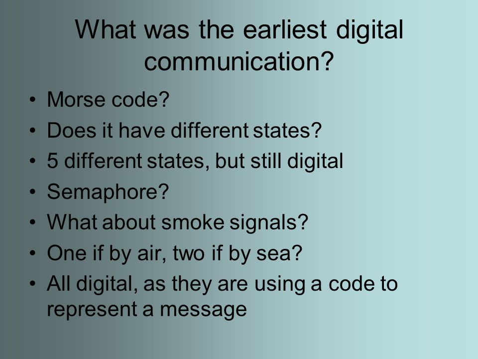 What was the earliest digital communication. Morse code.