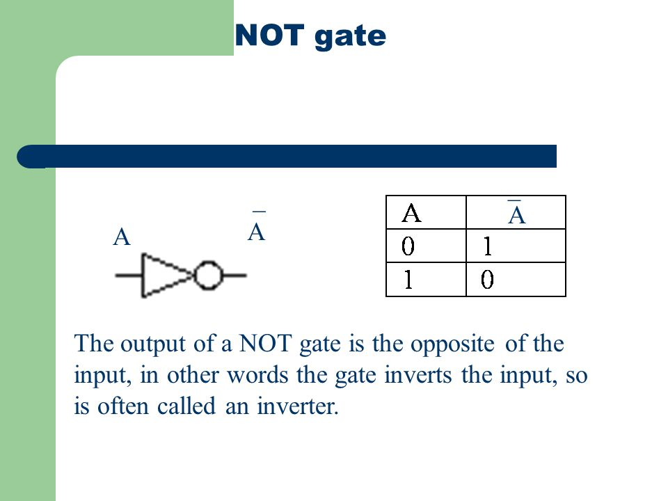 NAND gate The opposite of an AND gate when any of the inputs are false the output is true Equivalent to A B A B