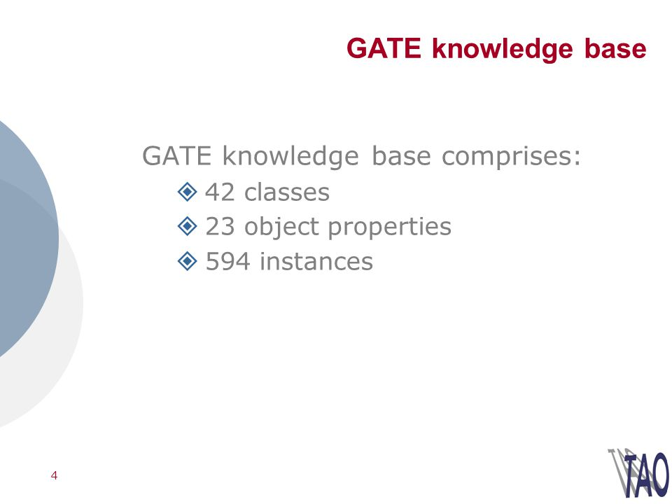 4 GATE knowledge base GATE knowledge base comprises: 42 classes 23 object properties 594 instances