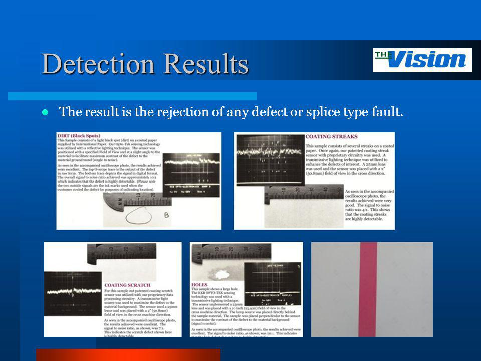 Detection Results The result is the rejection of any defect or splice type fault.