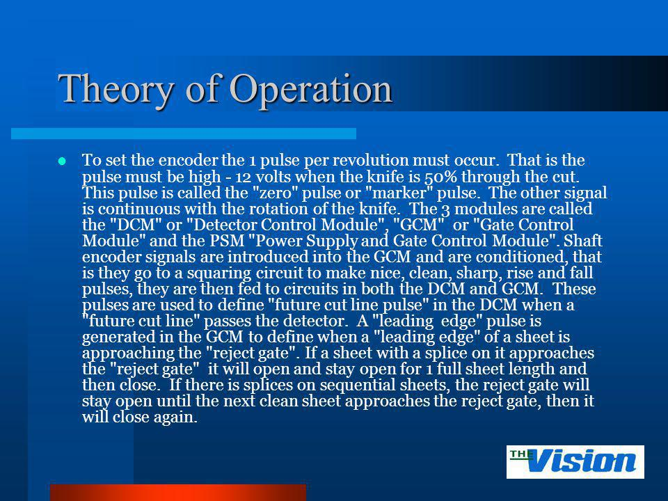 Theory of Operation To set the encoder the 1 pulse per revolution must occur. That is the pulse must be high 12 volts when the knife is 50% through th