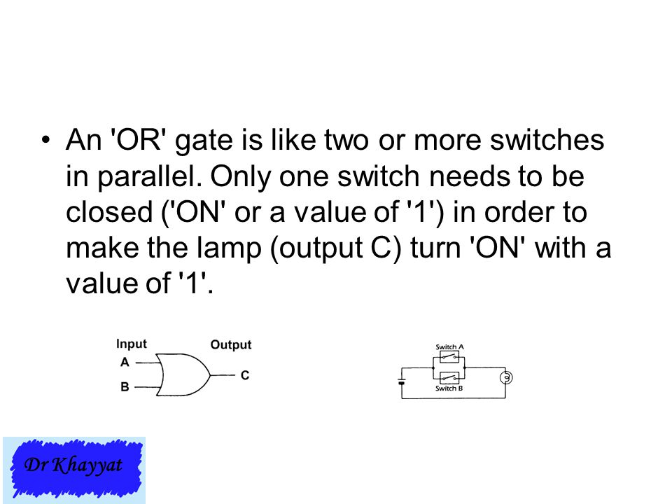 An 'OR' gate is like two or more switches in parallel. Only one switch needs to be closed ('ON' or a value of '1') in order to make the lamp (output C