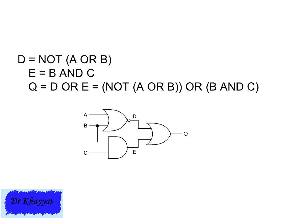 D = NOT (A OR B) E = B AND C Q = D OR E = (NOT (A OR B)) OR (B AND C) Dr Khayyat