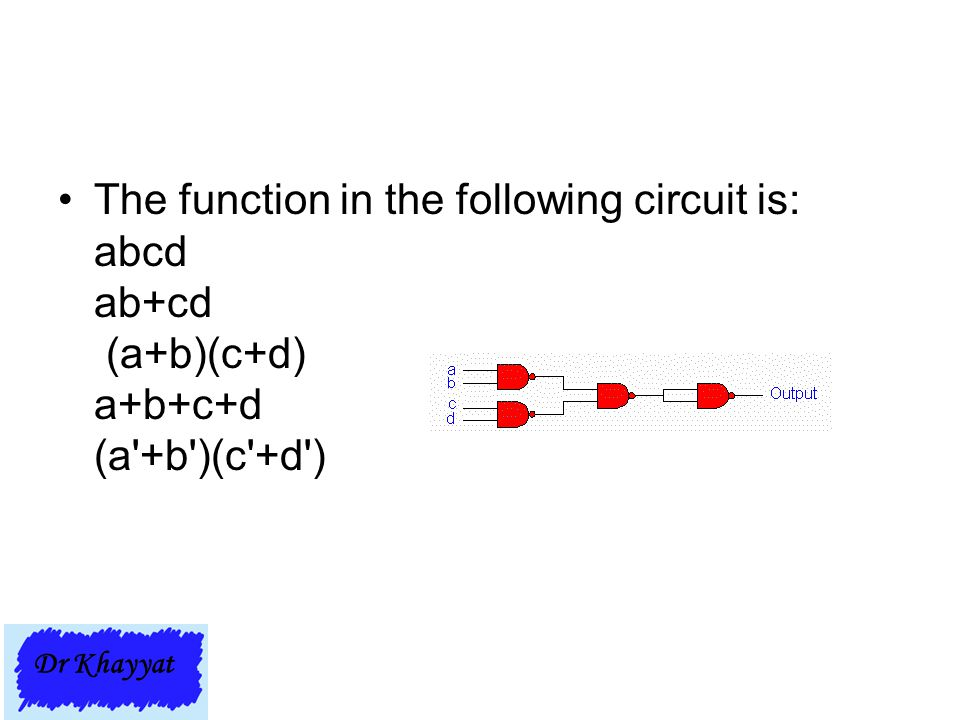 The function in the following circuit is: abcd ab+cd (a+b)(c+d) a+b+c+d (a'+b')(c'+d') Dr Khayyat