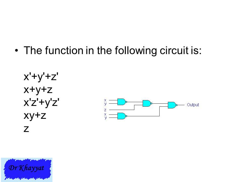 The function in the following circuit is: x'+y'+z' x+y+z x'z'+y'z' xy+z z Dr Khayyat