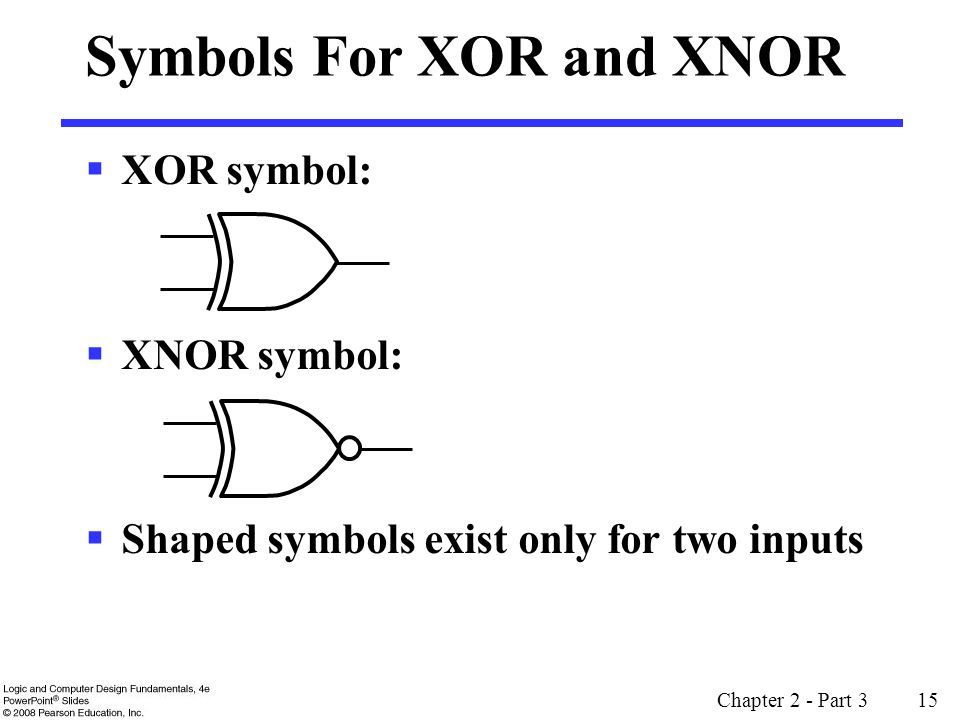 Chapter 2 - Part 3 15 Symbols For XOR and XNOR XOR symbol: XNOR symbol: Shaped symbols exist only for two inputs