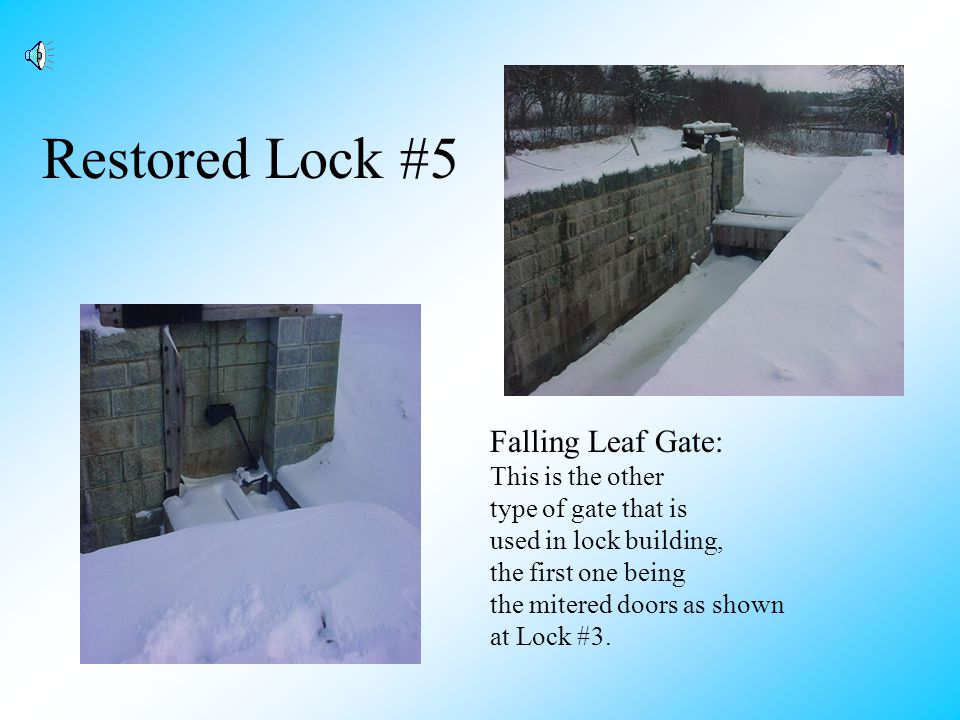 Open Gate At Lock #5 Notice the indentation in the wall of the lock which allows the door to open flat so it doesnt scratch the boats that pass through.