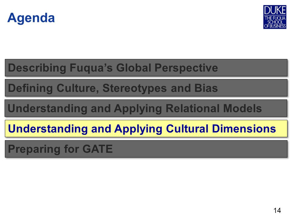 Agenda Describing Fuquas Global Perspective Defining Culture, Stereotypes and Bias 14 Understanding and Applying Relational Models Understanding and Applying Cultural Dimensions Preparing for GATE