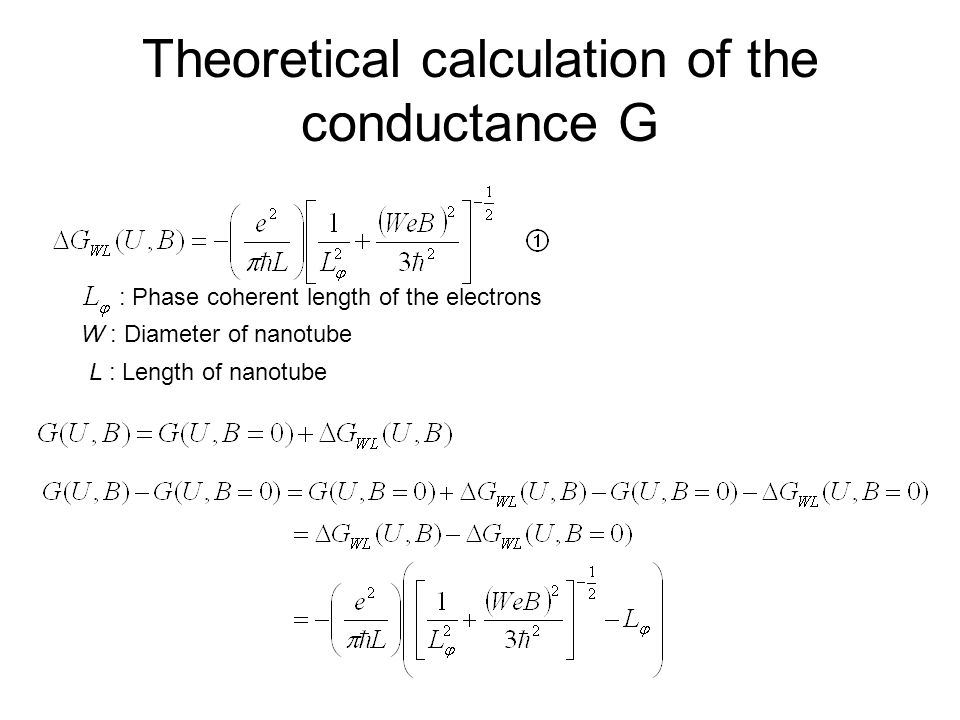 Theoretical calculation of the conductance G : Phase coherent length of the electrons W : Diameter of nanotube L : Length of nanotube