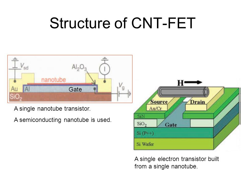 Structure of CNT-FET Gate A single nanotube transistor. A semiconducting nanotube is used. A single electron transistor built from a single nanotube.
