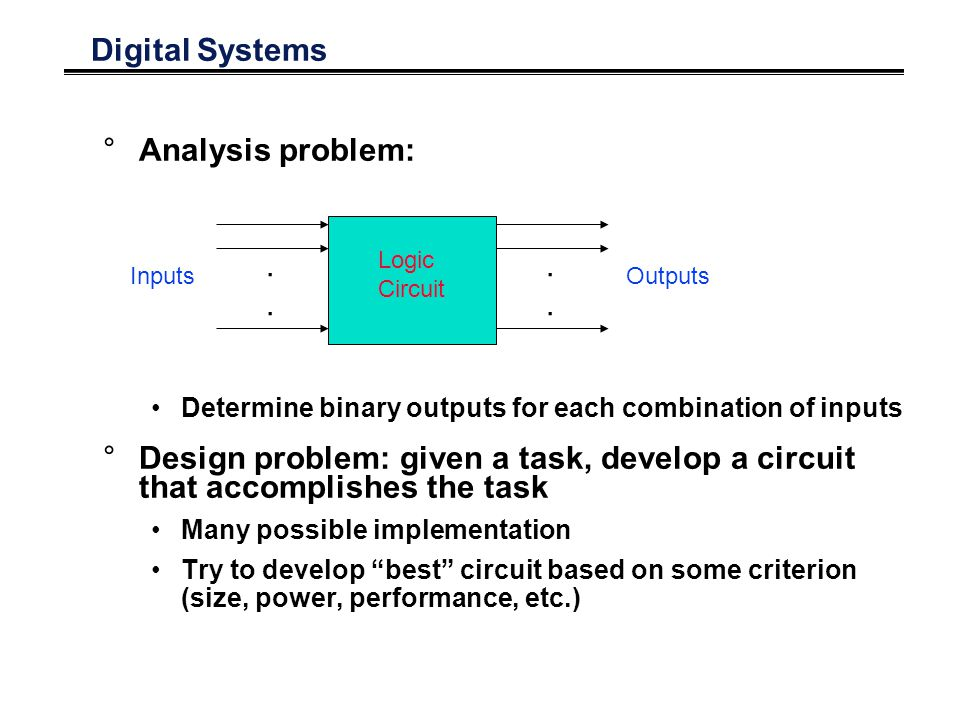 Digital Systems °Analysis problem: Determine binary outputs for each combination of inputs °Design problem: given a task, develop a circuit that accomplishes the task Many possible implementation Try to develop best circuit based on some criterion (size, power, performance, etc.)........