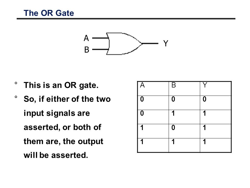 The OR Gate °This is an OR gate.