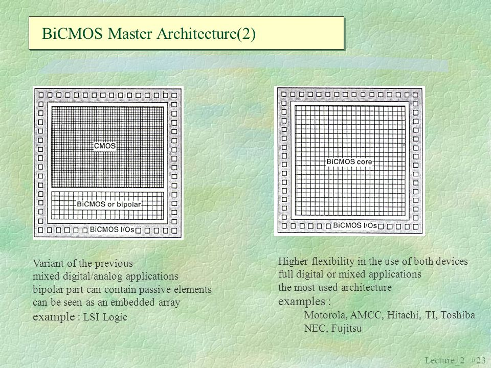 Lecture_2 #23 BiCMOS Master Architecture(2) Variant of the previous mixed digital/analog applications bipolar part can contain passive elements can be