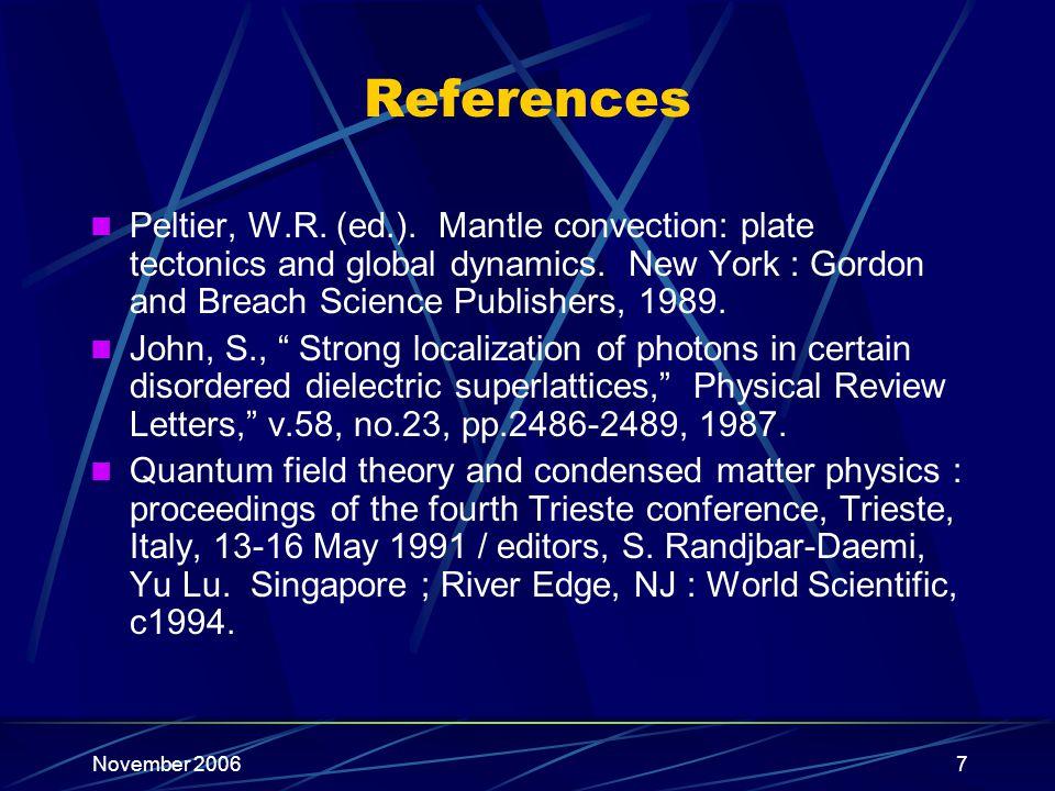 November 20067 References Peltier, W.R. (ed.).