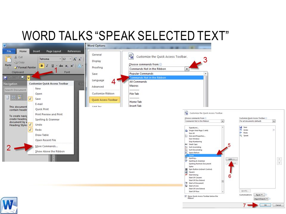 WORD TALKS SPEAK SELECTED TEXT