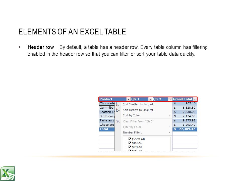 ELEMENTS OF AN EXCEL TABLE Header row By default, a table has a header row.