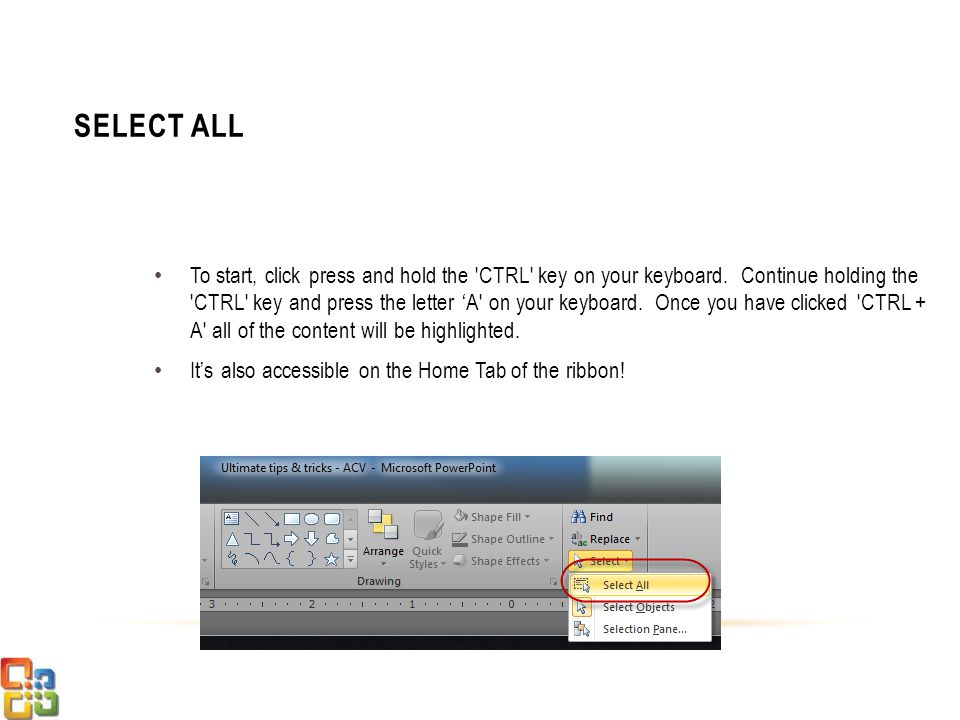 To start, click press and hold the CTRL key on your keyboard.