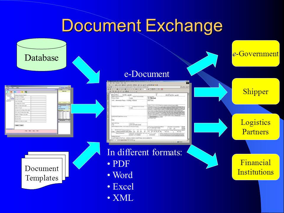 Document Exchange Document Templates Database e e-Government Shipper Logistics Partners Financial Institutions e-Document In different formats: PDF Wo