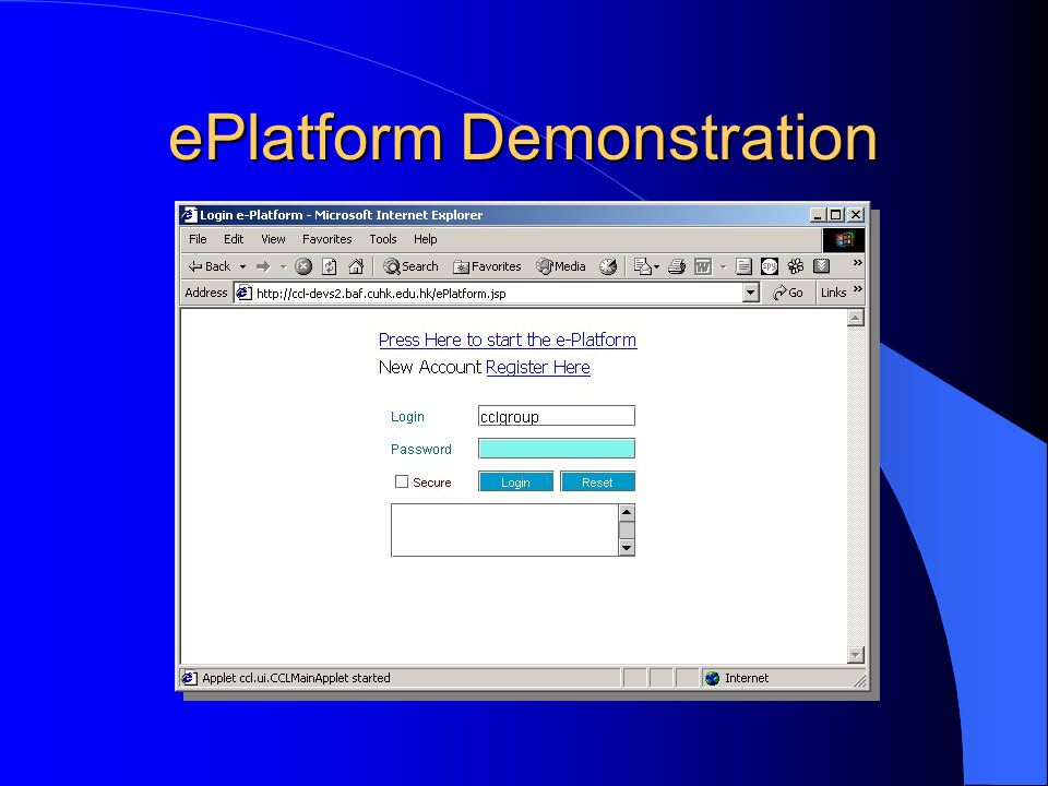 ePlatform Demonstration