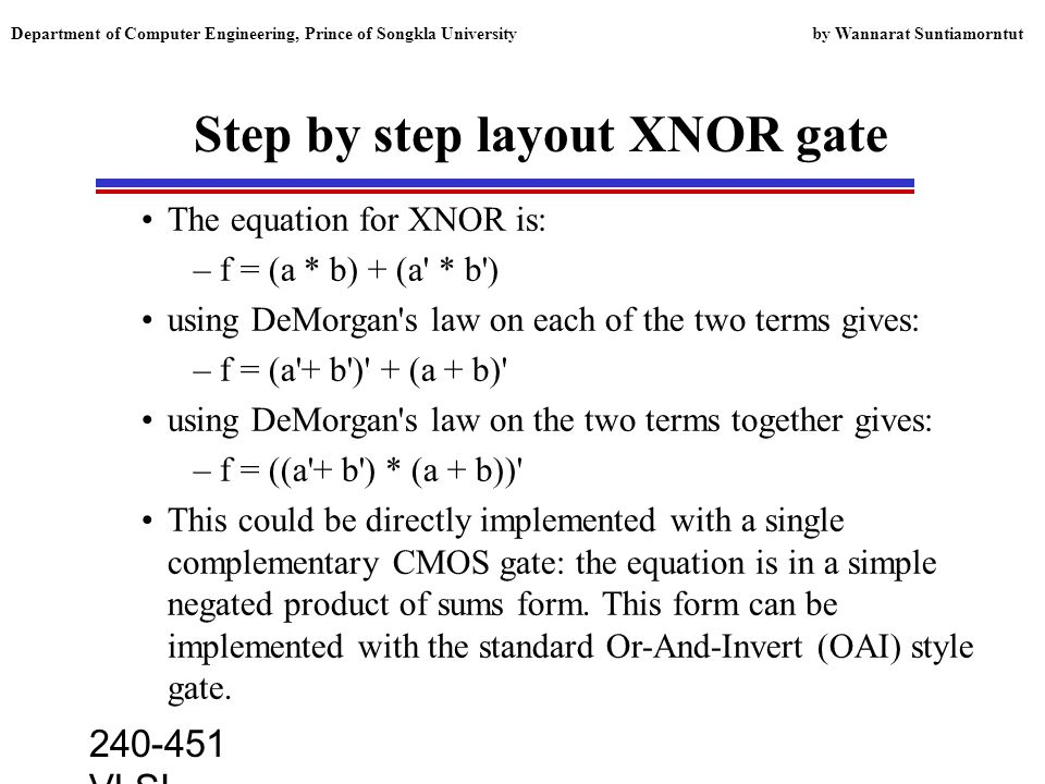 240-451 VLSI lecture, 2000 Department of Computer Engineering, Prince of Songkla University by Wannarat Suntiamorntut Step by step layout XNOR gate The equation for XNOR is: –f = (a * b) + (a * b ) using DeMorgan s law on each of the two terms gives: –f = (a + b ) + (a + b) using DeMorgan s law on the two terms together gives: –f = ((a + b ) * (a + b)) This could be directly implemented with a single complementary CMOS gate: the equation is in a simple negated product of sums form.