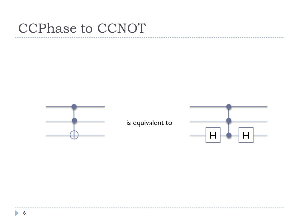 H H CCPhase to CCNOT is equivalent to 6