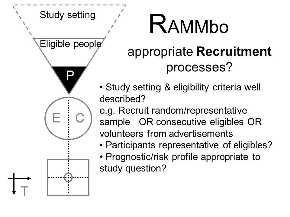 R AMMbo E C O T appropriate Recruitment processes? P Study setting & eligibility criteria well described? e.g. Recruit random/representative sample OR