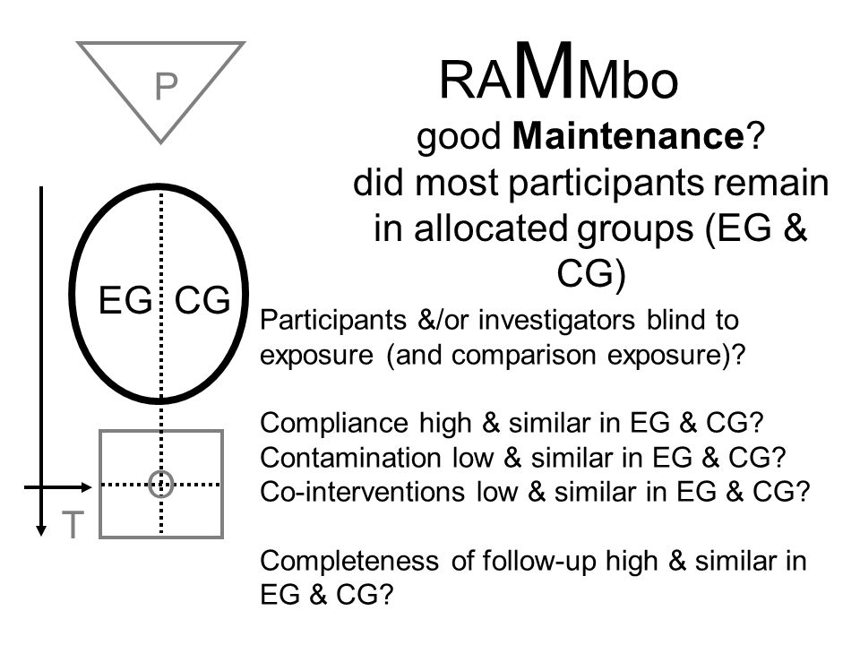 RA M Mbo EG CG O T good Maintenance? did most participants remain in allocated groups (EG & CG) P Participants &/or investigators blind to exposure (a