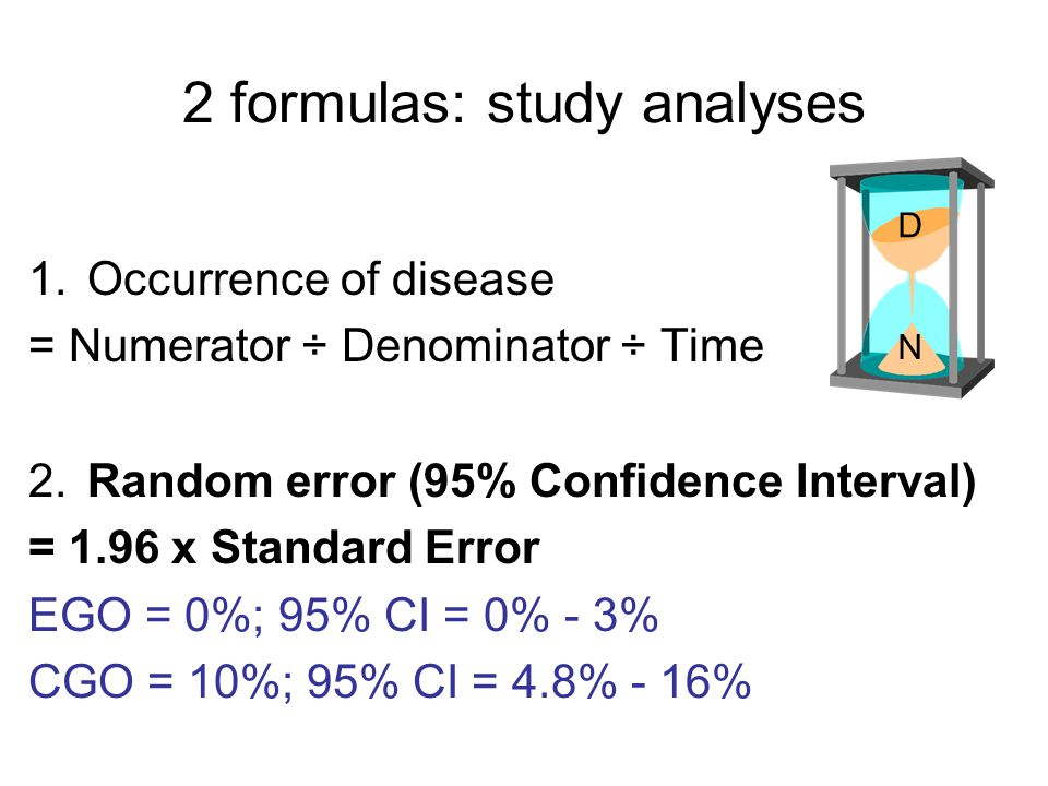2 formulas: study analyses 1.Occurrence of disease = Numerator ÷ Denominator ÷ Time 2.Random error (95% Confidence Interval) = 1.96 x Standard Error E