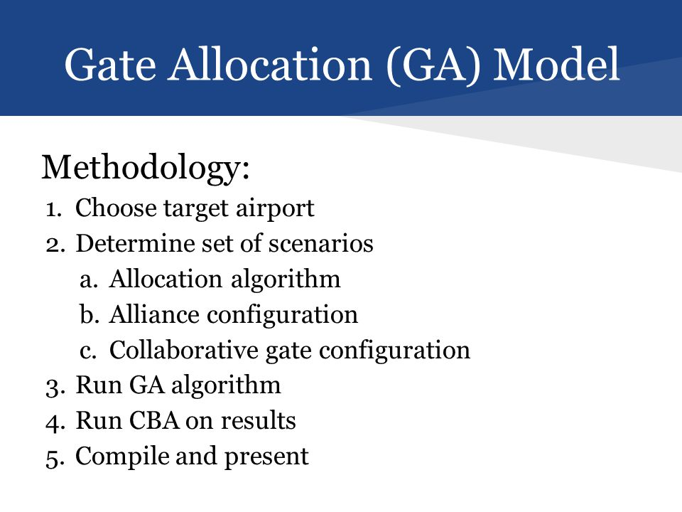 Gate Allocation (GA) Model Methodology: 1.Choose target airport 2.Determine set of scenarios a.Allocation algorithm b.Alliance configuration c.Collaborative gate configuration 3.Run GA algorithm 4.Run CBA on results 5.Compile and present