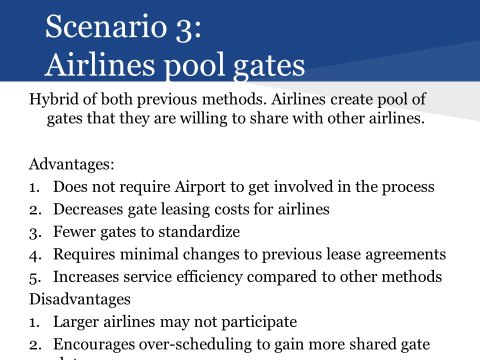 Scenario 3: Airlines pool gates Hybrid of both previous methods.