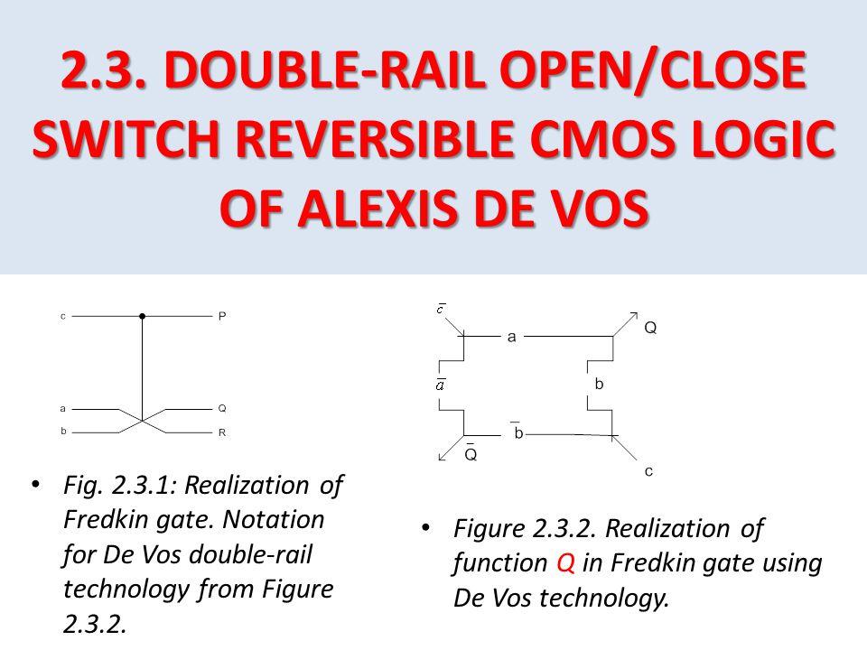 2.3. DOUBLE-RAIL OPEN/CLOSE SWITCH REVERSIBLE CMOS LOGIC OF ALEXIS DE VOS Fig. 2.3.1: Realization of Fredkin gate. Notation for De Vos double-rail tec