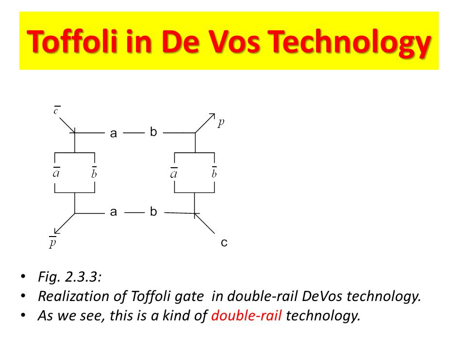 Toffoli in De Vos Technology Fig. 2.3.3: Realization of Toffoli gate in double-rail DeVos technology. As we see, this is a kind of double-rail technol