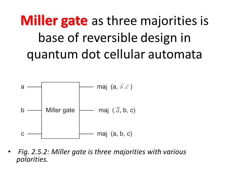 Miller gate Miller gate as three majorities is base of reversible design in quantum dot cellular automata Fig. 2.5.2: Miller gate is three majorities