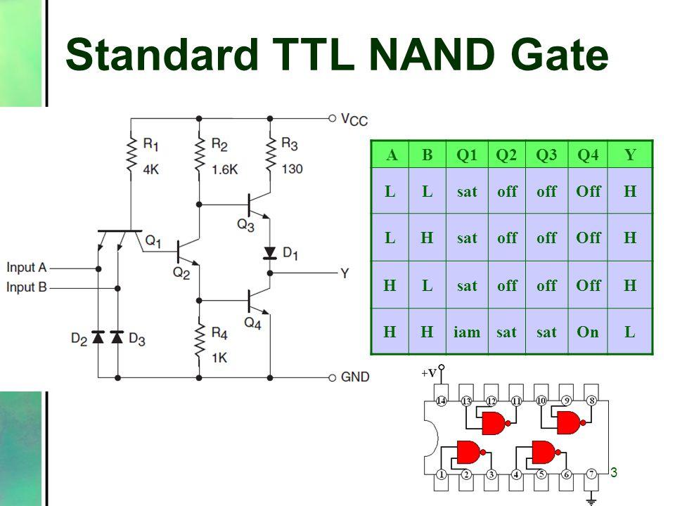 Standard TTL NAND Gate ABQ1Q2Q3Q4Y LLsatoff OffH LHsatoff OffH HLsatoff OffH HHiamsat OnL 3