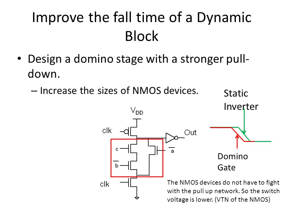 Improve the fall time of a Dynamic Block Design a domino stage with a stronger pull- down. – Increase the sizes of NMOS devices. The NMOS devices do n