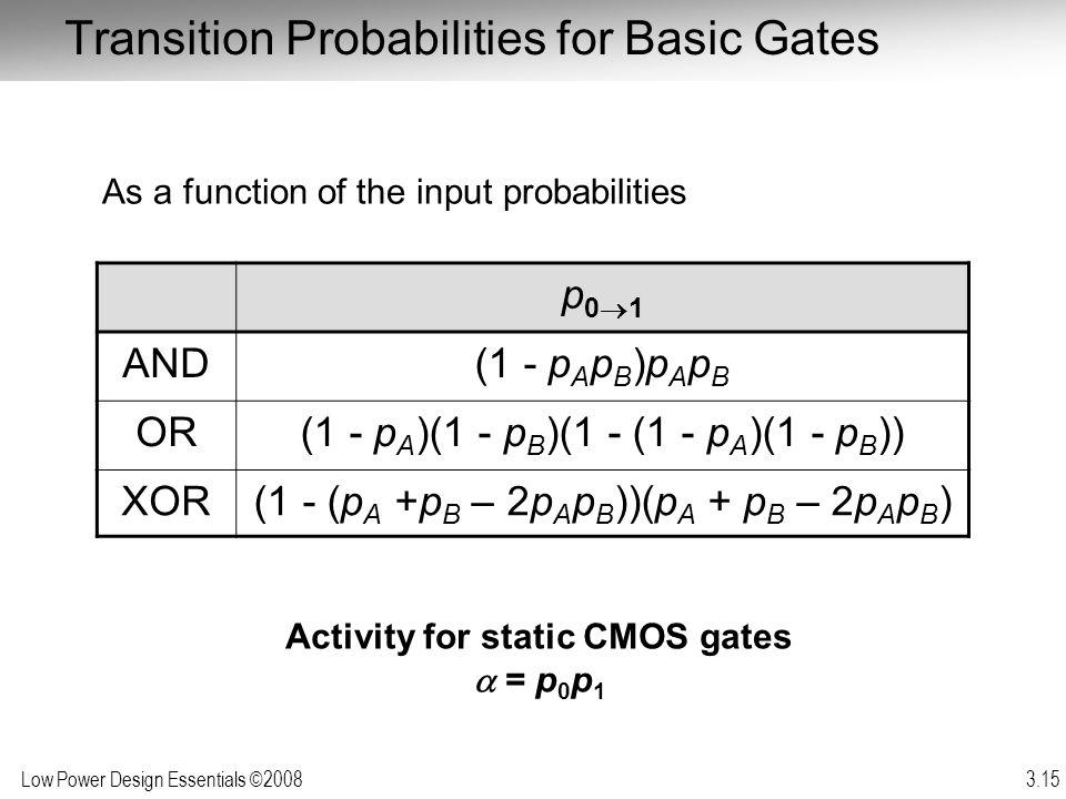 Low Power Design Essentials ©2008 3.15 Transition Probabilities for Basic Gates p 0 1 AND(1 - p A p B )p A p B OR(1 - p A )(1 - p B )(1 - (1 - p A )(1