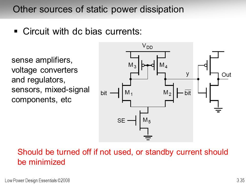 Low Power Design Essentials ©2008 3.35 Other sources of static power dissipation Circuit with dc bias currents: Should be turned off if not used, or s