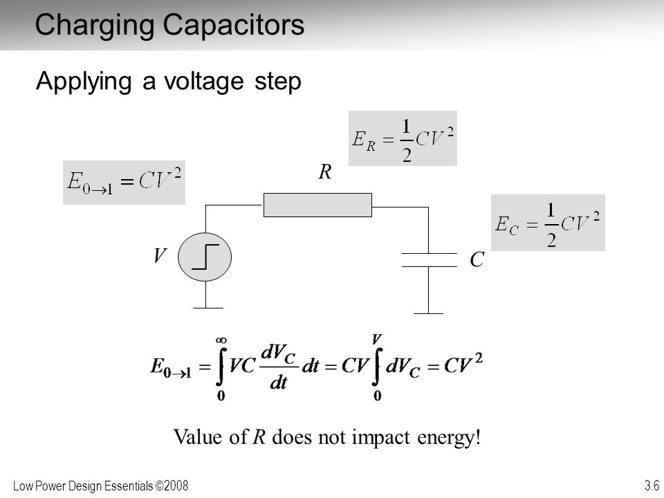 Low Power Design Essentials ©2008 3.7 Applied to Complementary CMOS Gate One half of the power from the supply is consumed in the pull-up network and one half is stored on C L Charge from C L is dumped during the 1 0 transition Independent of resistance of charging/discharging network V dd V out i L C L PMOS NETWORK NMOS A 1 A N NETWORK