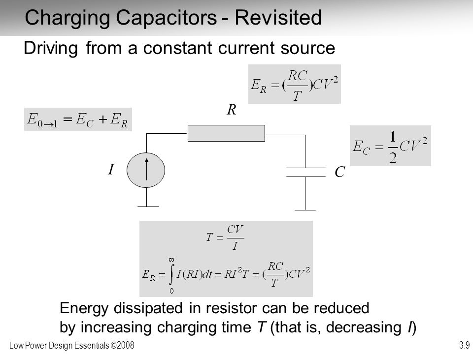 Low Power Design Essentials ©2008 3.30 Sub-Threshold Leakage Leakage current increases with drain voltage (mostly due to DIBL) (for V DS > 3 kT/q) Hence Leakage Power strong function of supply voltage