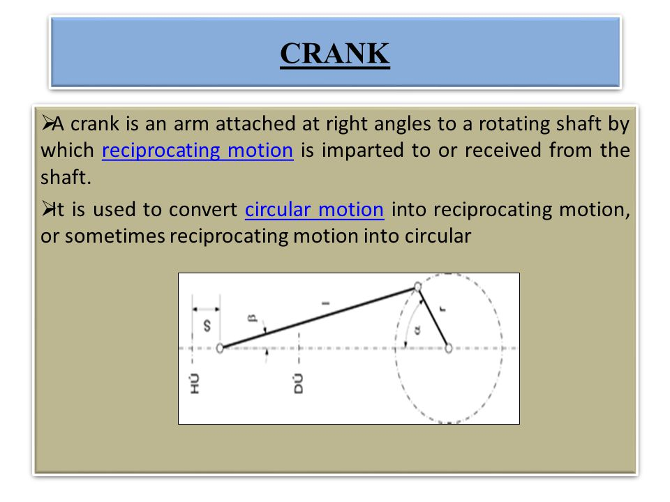 CRANK A crank is an arm attached at right angles to a rotating shaft by which reciprocating motion is imparted to or received from the shaft.reciproca