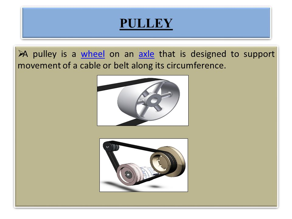 PULLEY A pulley is a wheel on an axle that is designed to support movement of a cable or belt along its circumference.wheelaxle A pulley is a wheel on