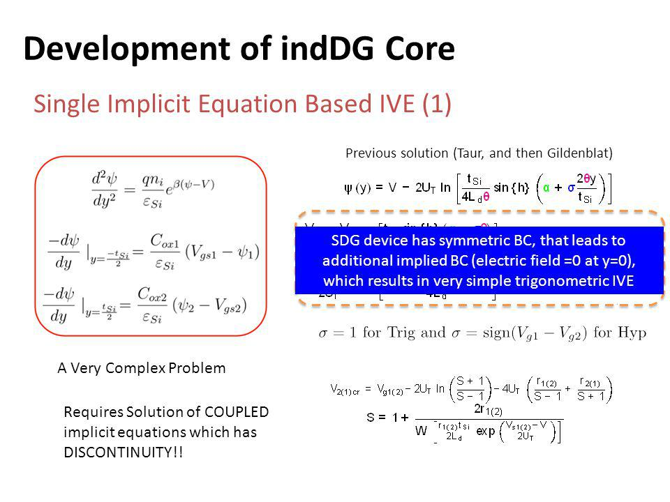Development of indDG Core Single Implicit Equation Based IVE (1) A Very Complex Problem Requires Solution of COUPLED implicit equations which has DISCONTINUITY!.