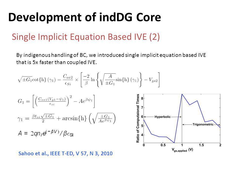 Development of indDG Core Single Implicit Equation Based IVE (2) By indigenous handling of BC, we introduced single implicit equation based IVE that is 5x faster than coupled IVE.
