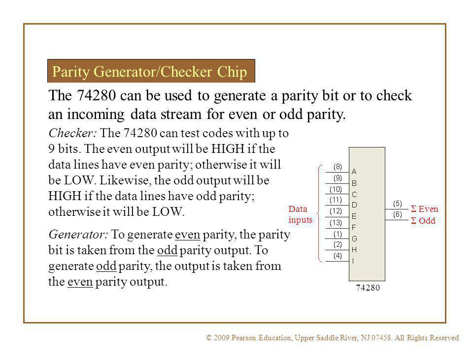 © 2009 Pearson Education, Upper Saddle River, NJ 07458. All Rights ReservedFloyd, Digital Fundamentals, 10 th ed Parity Generator/Checker Chip The 742