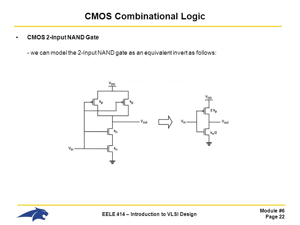 Module #6 Page 22 EELE 414 – Introduction to VLSI Design CMOS Combinational Logic CMOS 2-Input NAND Gate - we can model the 2-Input NAND gate as an eq