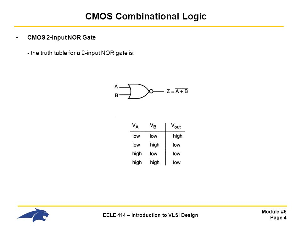 Module #6 Page 4 EELE 414 – Introduction to VLSI Design CMOS Combinational Logic CMOS 2-Input NOR Gate - the truth table for a 2-input NOR gate is: