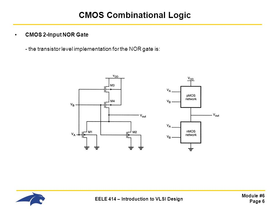 Module #6 Page 6 EELE 414 – Introduction to VLSI Design CMOS Combinational Logic CMOS 2-Input NOR Gate - the transistor level implementation for the N