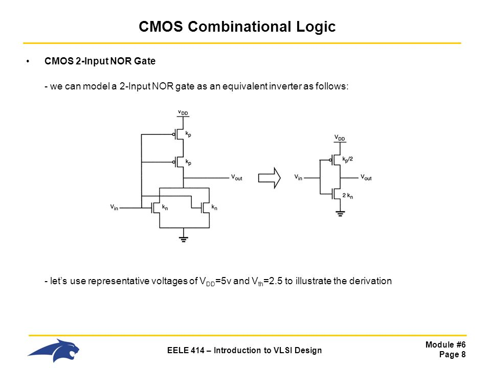 Module #6 Page 8 EELE 414 – Introduction to VLSI Design CMOS Combinational Logic CMOS 2-Input NOR Gate - we can model a 2-Input NOR gate as an equival