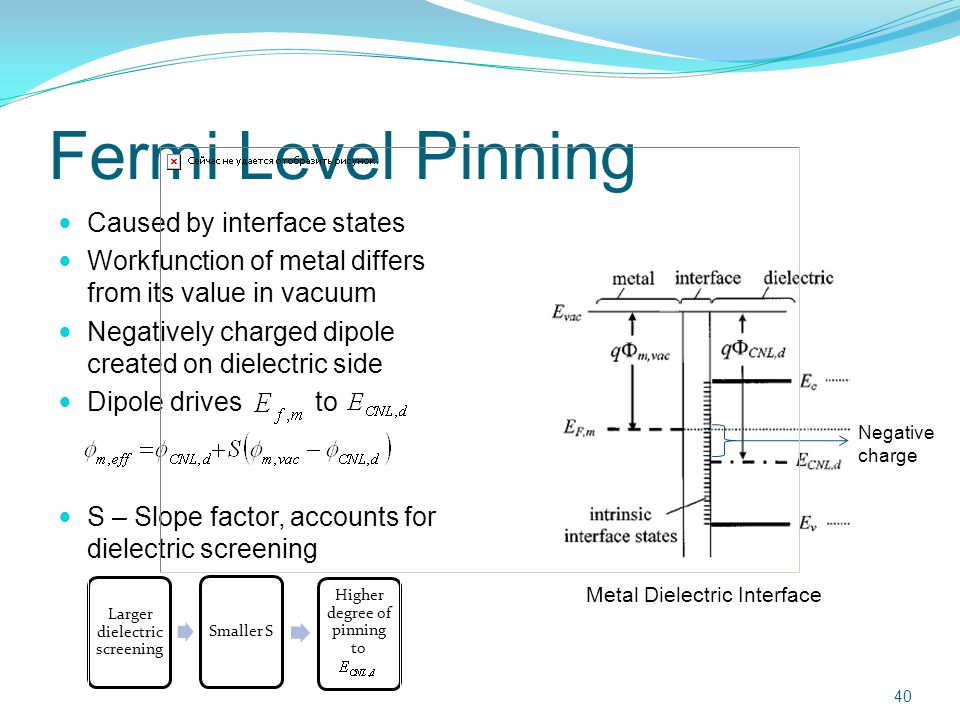 Fermi Level Pinning Caused by interface states Workfunction of metal differs from its value in vacuum Negatively charged dipole created on dielectric side Dipole drives to S – Slope factor, accounts for dielectric screening 40 Negative charge Larger dielectric screening Smaller S Higher degree of pinning to Metal Dielectric Interface