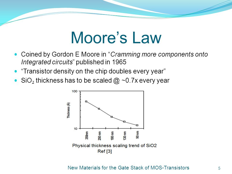 Moores Law Coined by Gordon E Moore in Cramming more components onto Integrated circuits published in 1965 Transistor density on the chip doubles every year SiO thickness has to be scaled @ ~0.7x every year New Materials for the Gate Stack of MOS-Transistors 5